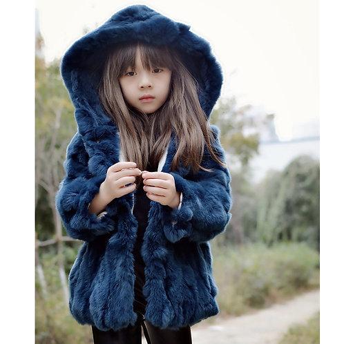 DMGC03  Rex Rabbit Fur Children's  Hoody In Blue
