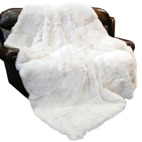 DMD43 Rex Rabbit Fur Blanket / Fur Throw in White