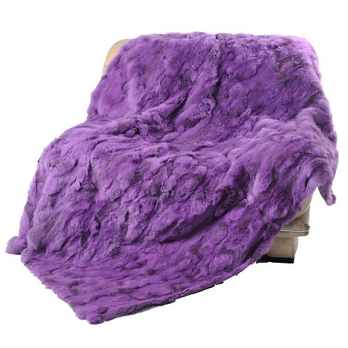 DMD11C Rabbit Fur Blanket / Throw in Purple