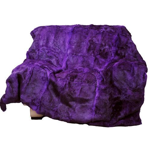 Genuine Rabbit Fur Blanket / Fur Throw in Purple