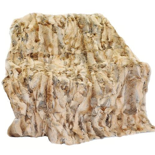 DMD11 Rabbit Fur Blanket / Throw in Camel
