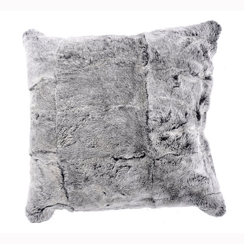 Full Pelt Black Frost Rex Rabbit Fur Pillow