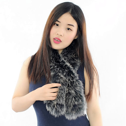 DMS71C Knit Fox Fur Pull Through Scarf in Black Frost
