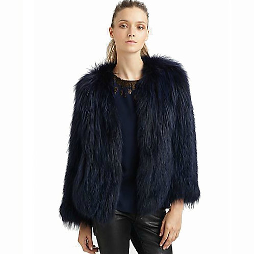 DMGA187 Knitted Raccoon Fur Jacket In Black