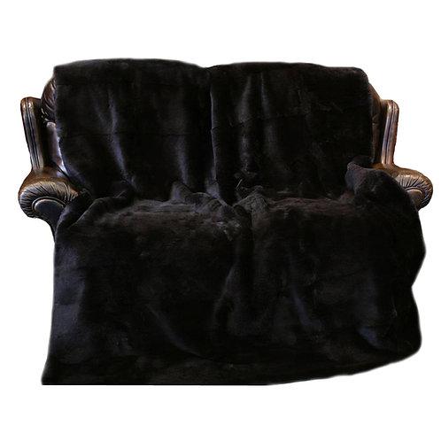 Rex Rabbit Fur Blanket / Fur Throw in Black