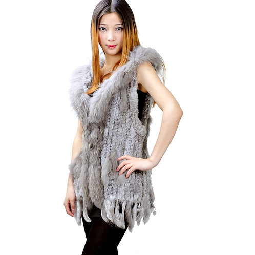 DMGB97 Rabbit Fur Hooded Gilet With Raccoon Fur Trimming
