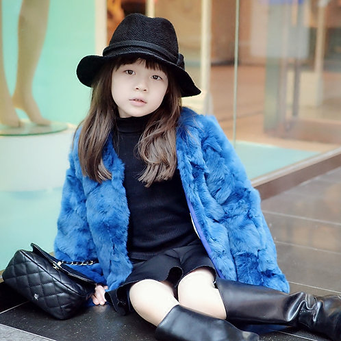 DMGC04  Rex Rabbit Fur Children's Coat In Blue