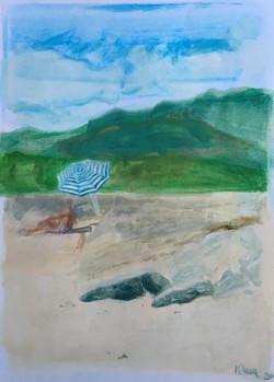 plage corse avec parasol
