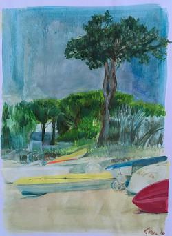 Peinture Corse plage avec bateaux-s