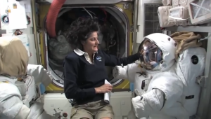 airlock hatch and suits in ISS