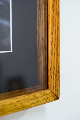 Detail of box frame with timber spacers. Distressed custom dye with oil and shellac finish.