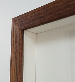 Detail of box frame with matboard spacers