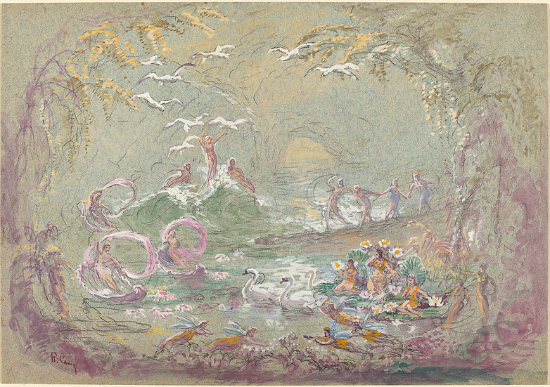 Lake Scene with Fairies and Swans