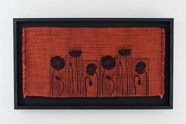 Ebonized box frame without glass and black linen mat.