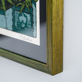 Detail of custom green dye, oil and shellac finish