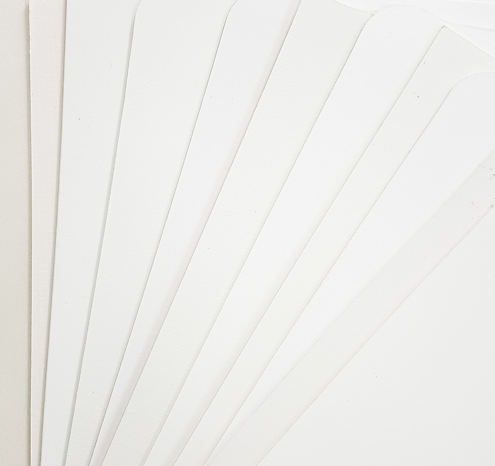 Just some of the different shades of white available in my basic line of mat boards