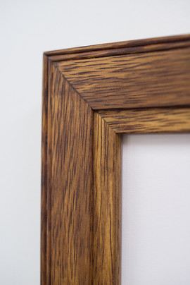Detail of custom moulding, hand crafted from recycled timber.