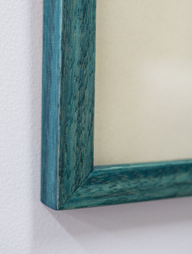 Detail of custom teal dye, oil and wax finish