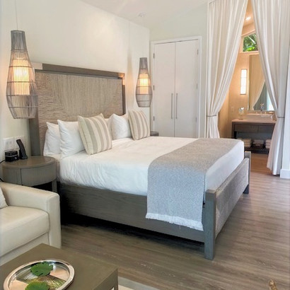 Each Bungalow beautifully appointed King Size Bed