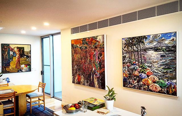 We hung these amazing paintings for a lovely client in Teneriffe today