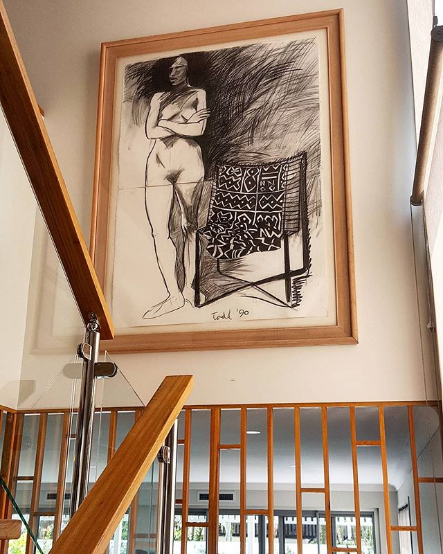 This beautiful charcoal drawing looks right at home in this stairwell in Hendra. _Need it on the wal
