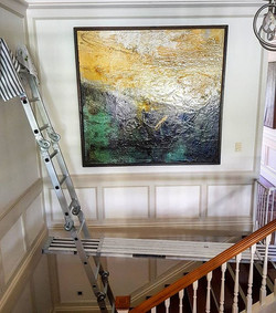 Get the ladder and plank out!_We finished off another huge day with this beautiful Painting hung saf
