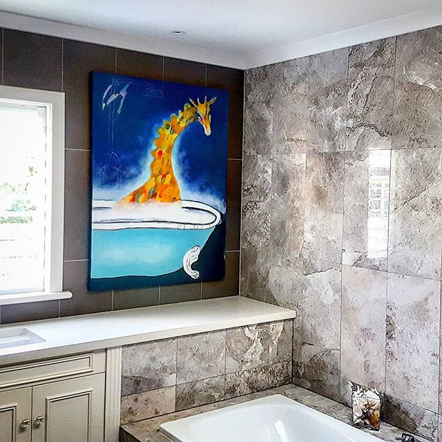 _The Giraffe's in the bath!_ 😊_Need some works of art installed into bathroom tiles_ _No problem at
