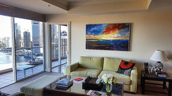 Hanging another beautiful piece of art from _redseagallerybrisbane for a stunning riverside city apa