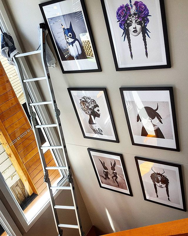 Another chance to showoff our ladder skills! These prints look fantastic on this very tall wall