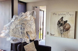 Hanging a fantastic _artbypalmer this morning in a beautiful apartment in West End