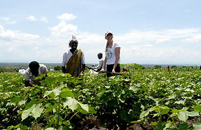 Laura Chaplin mit Baumwollbauern in Ugan
