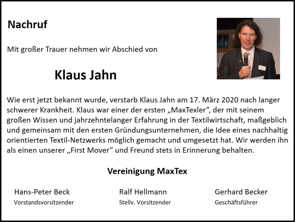 Nachruf Klaus Jahn