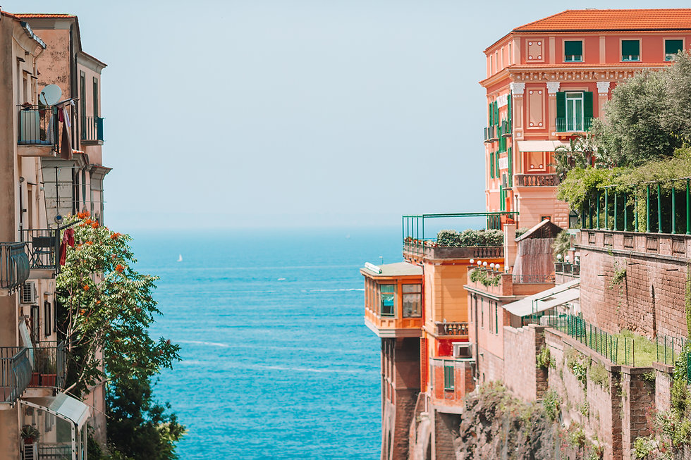 View of the street in Sorrento, Italy. S