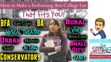 How To Make a Performing Arts College List that Fits You!