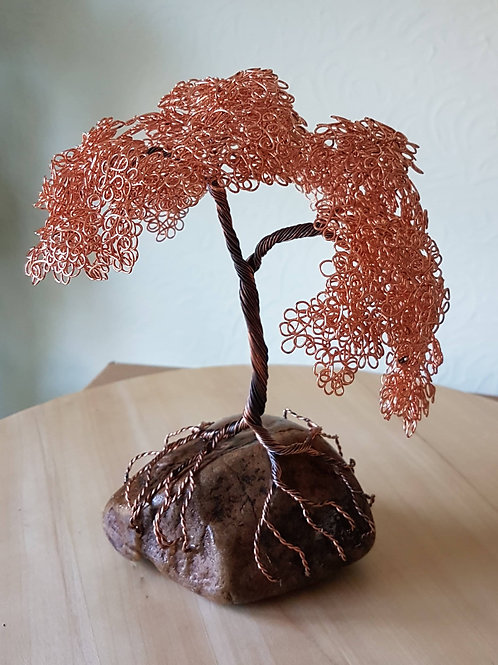 Solid copper autumn leaf wire tree sculpture
