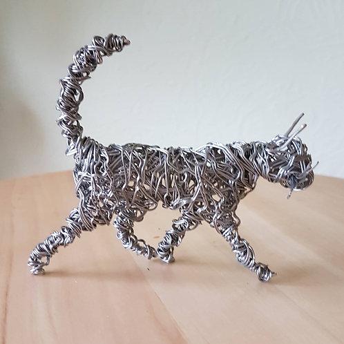 Aluminium Wire Cat Sculpture