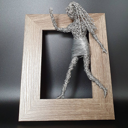 Wire Lady, Girl Mischievous Wall Mounted 3D Sculpture, Hi There!
