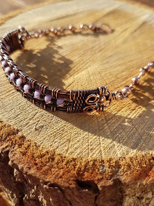 """Copper Bracelet, Pink Wire Weave Bracelet 8"""""""