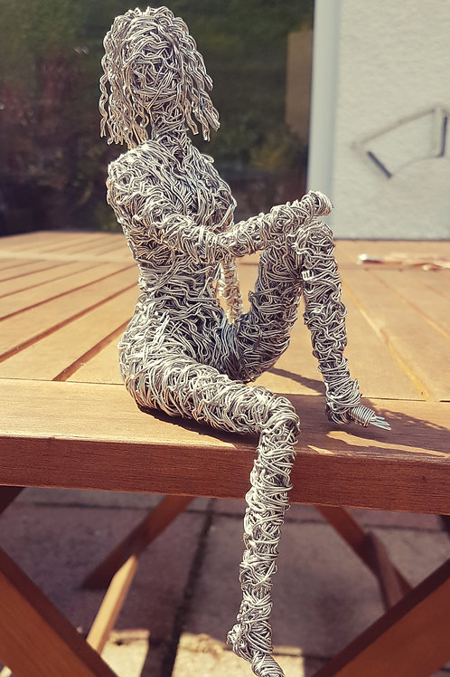 Sitting Lady Wire Sculpture