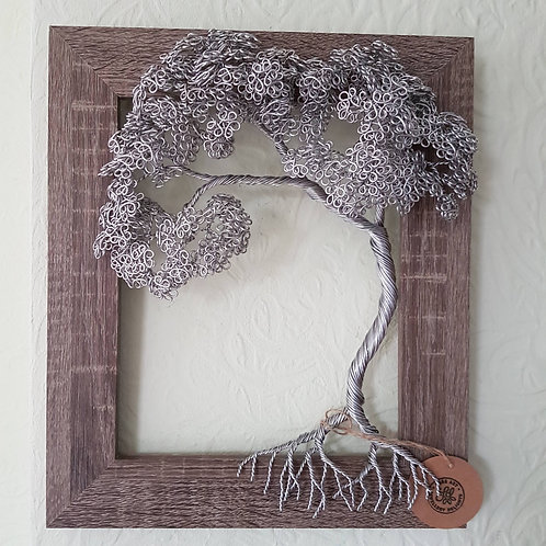 Wire Tree Wall Art, Framed Summer Leaf Tree Sculpture