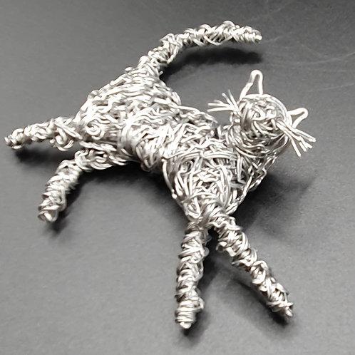 Aluminium Lying Wire Cat Sculpture