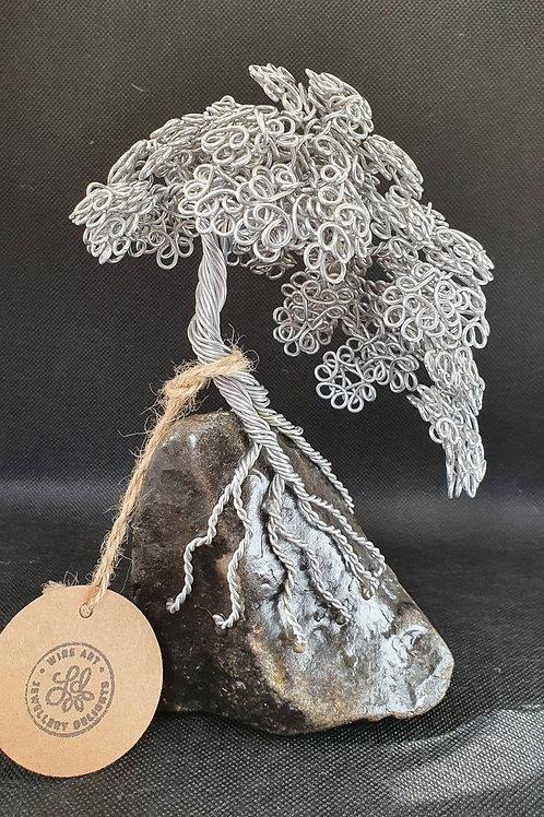 Small Aluminium Summer Leaf Tree Paperweight Miniature Tree