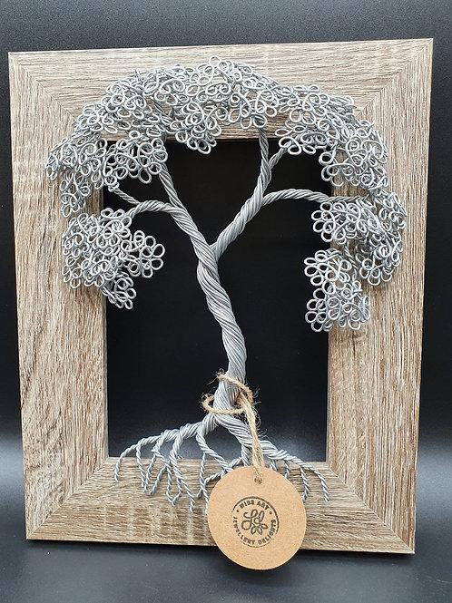 Wall mounted framed summer leaf tree sculpture