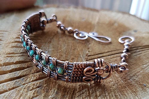 Solid copper beaded and wire weaved bracelet