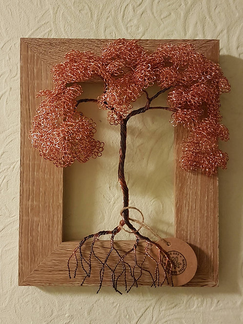 Wall mounted framed copper autumn leaf tree sculpture