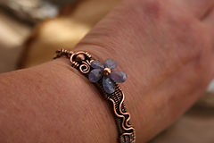 Copper wire bracelet, Tanzanite artisan jewellery flower wire weave
