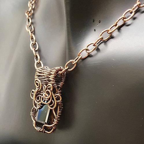 Smokey Quartz Copper Wire Weave Necklace