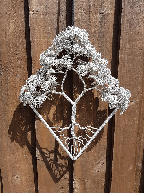 Wire Tree Sculpture, pretty framed 3D tree of life window and garden decor
