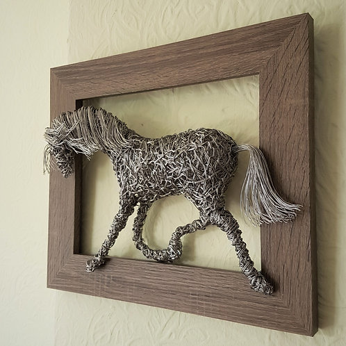 Framed Picture Trotting Horse Pony Sculpture Wall Art