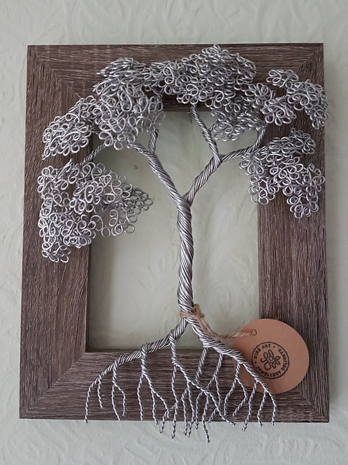 Wall mounted framed summer leaf tree sculpture
